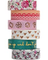 Washi Masking Tape Set, Premium 10-Meter Long Designs, Collection For Creative DIY Crafts, Planners, Scrapbooking & Gift Wrapping   Decorative Masking Tape Suitable For Kids & Adults