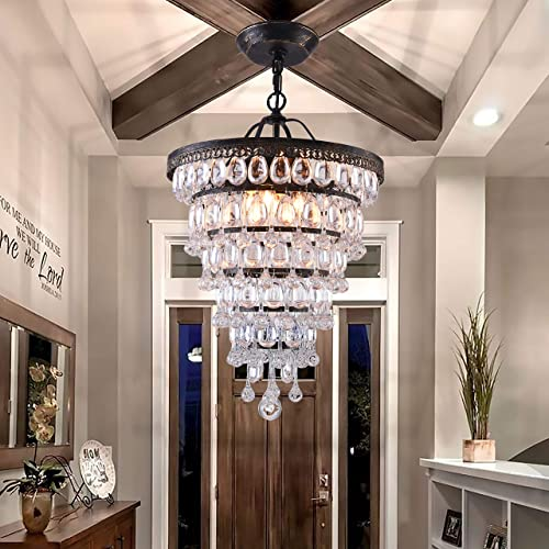 PAPAYA Farmhouse Raindrop Crystal Chandelier 4-Light Vintage Ceiling Light Fixture Bronze Hanging Pendant Lighting