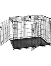 AmazonBasics Double-Door Folding Metal Dog Crate Cage - 42 x 28 x 30 Inches