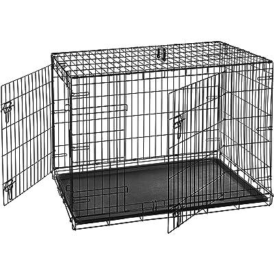 AmazonBasics - Jaula plegable de metal para mascota (dos puertas, 107 cm largo)