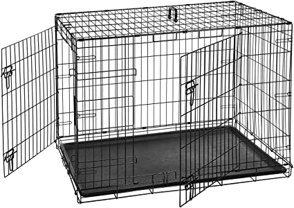 Amazon Amazonbasics Double Door Folding Metal Dog Crate 42