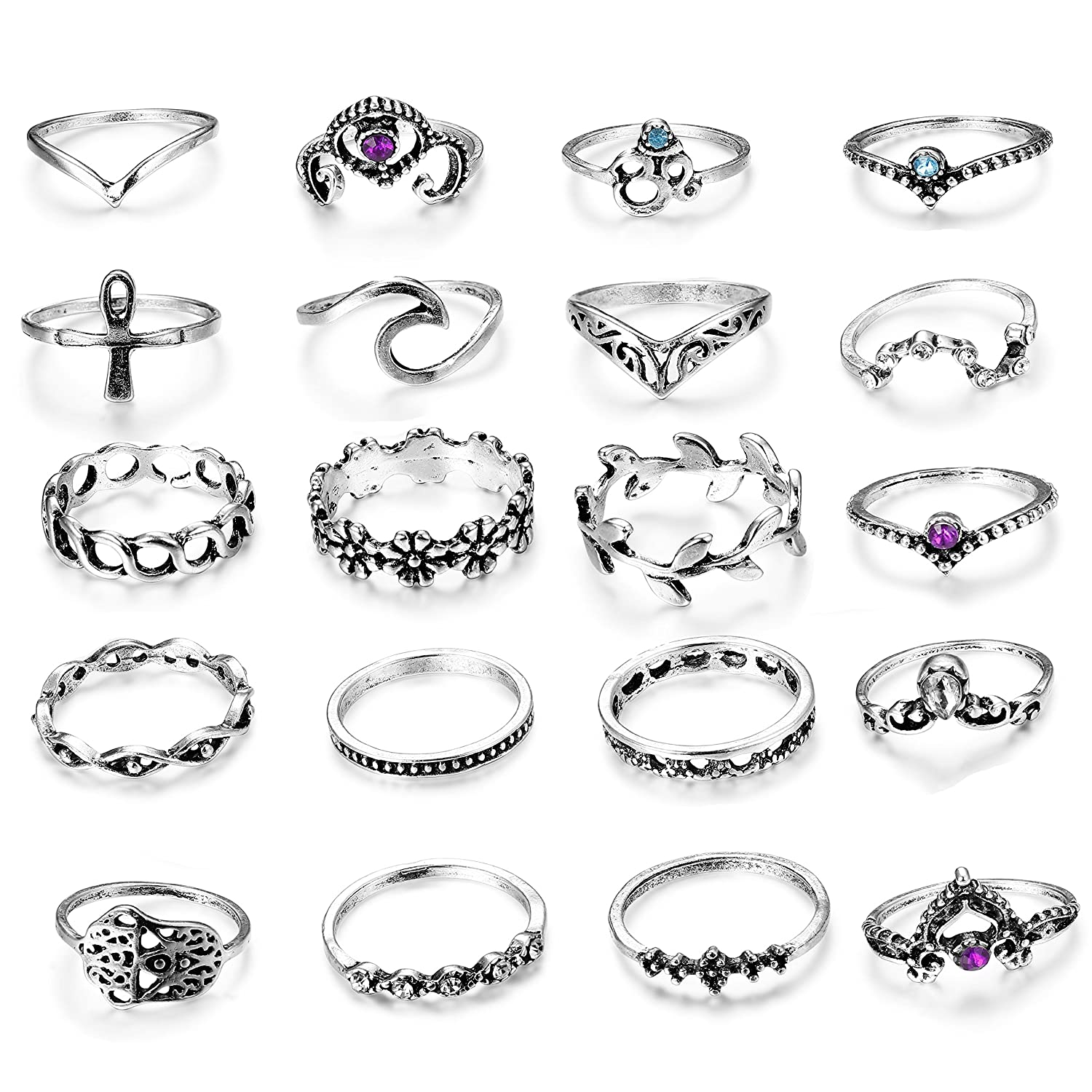 LOLIAS 20 Pcs Vintage Knuckle Ring Set for Women Girls Stackable Rings Set Hollow Carved Flowers L-JBZKR-20
