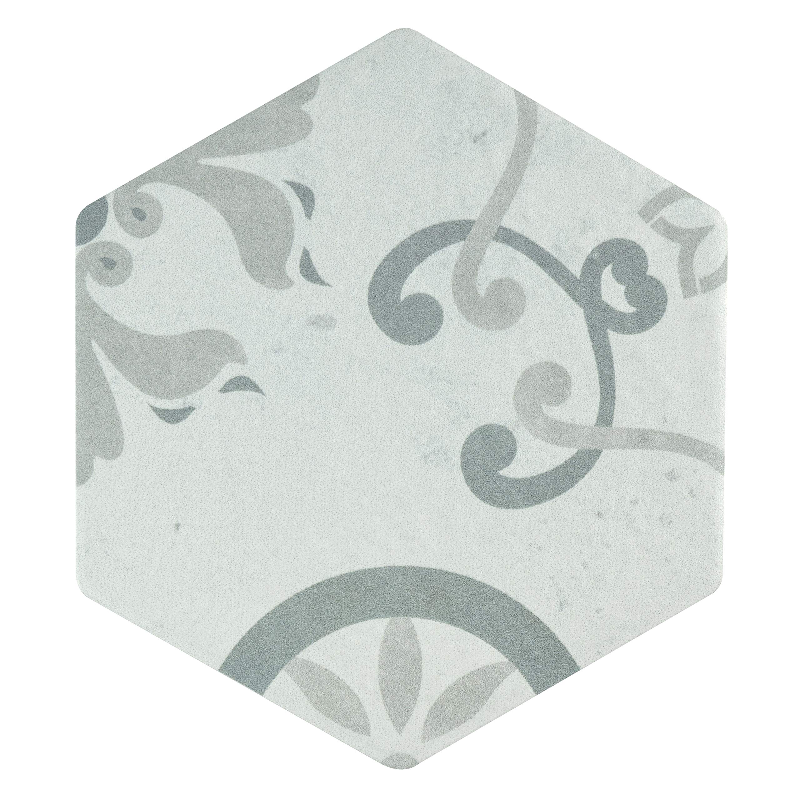 SomerTile FEO6OXDT Roldal Hex Decor Porcelain Floor and Wall, 5.88'' x 6.75'', Trium Tile, Gray