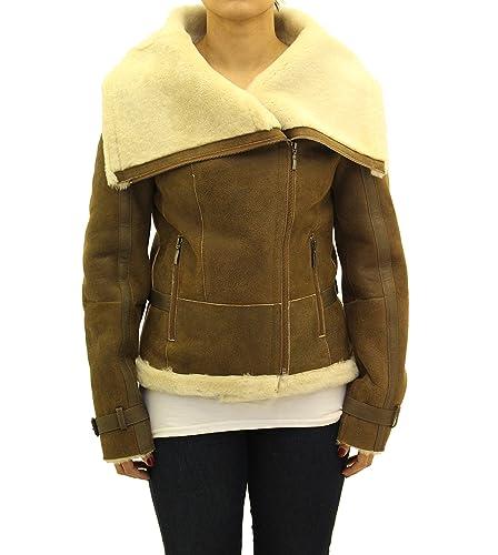 Se–oras marr—n/broncearse. Shearling piel de oveja chaqueta con cremallera lateral del motorista con el collar grande