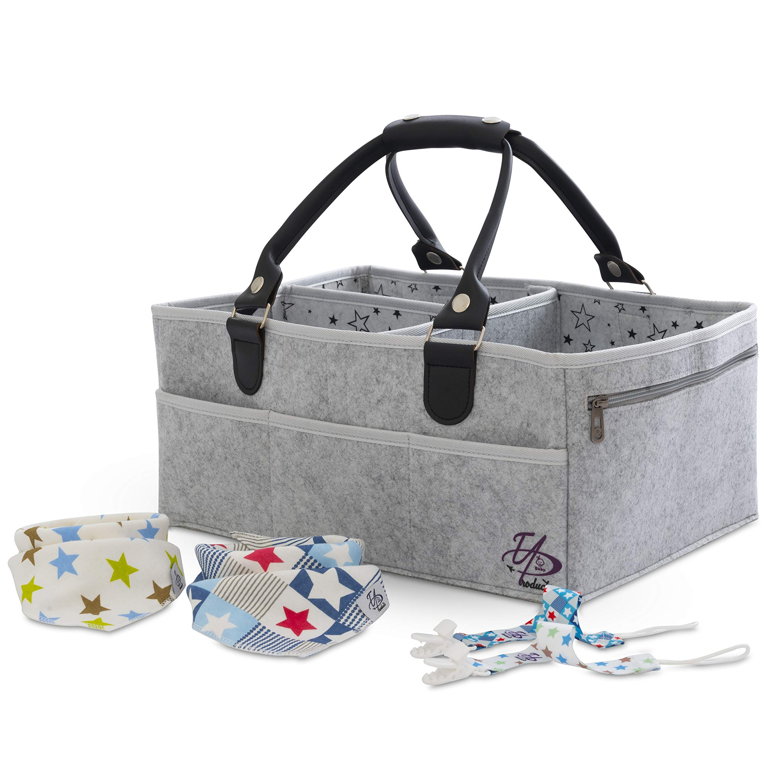 Baby Diaper Caddy Organizer Bag for Changing Table / Storage / Portable Nursery Basket | X-Large (16x11x7 inches) | 3 Inner sections 8 Pockets | Sturdy | Unisex | Gray | Bonus 2 Bibs, 2 Pacifier Clips by EAProducts