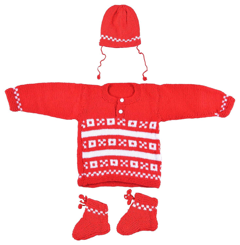 a17e0217c Kuchipoo Babies Hand Knitted Woollen Sweater Set (Red