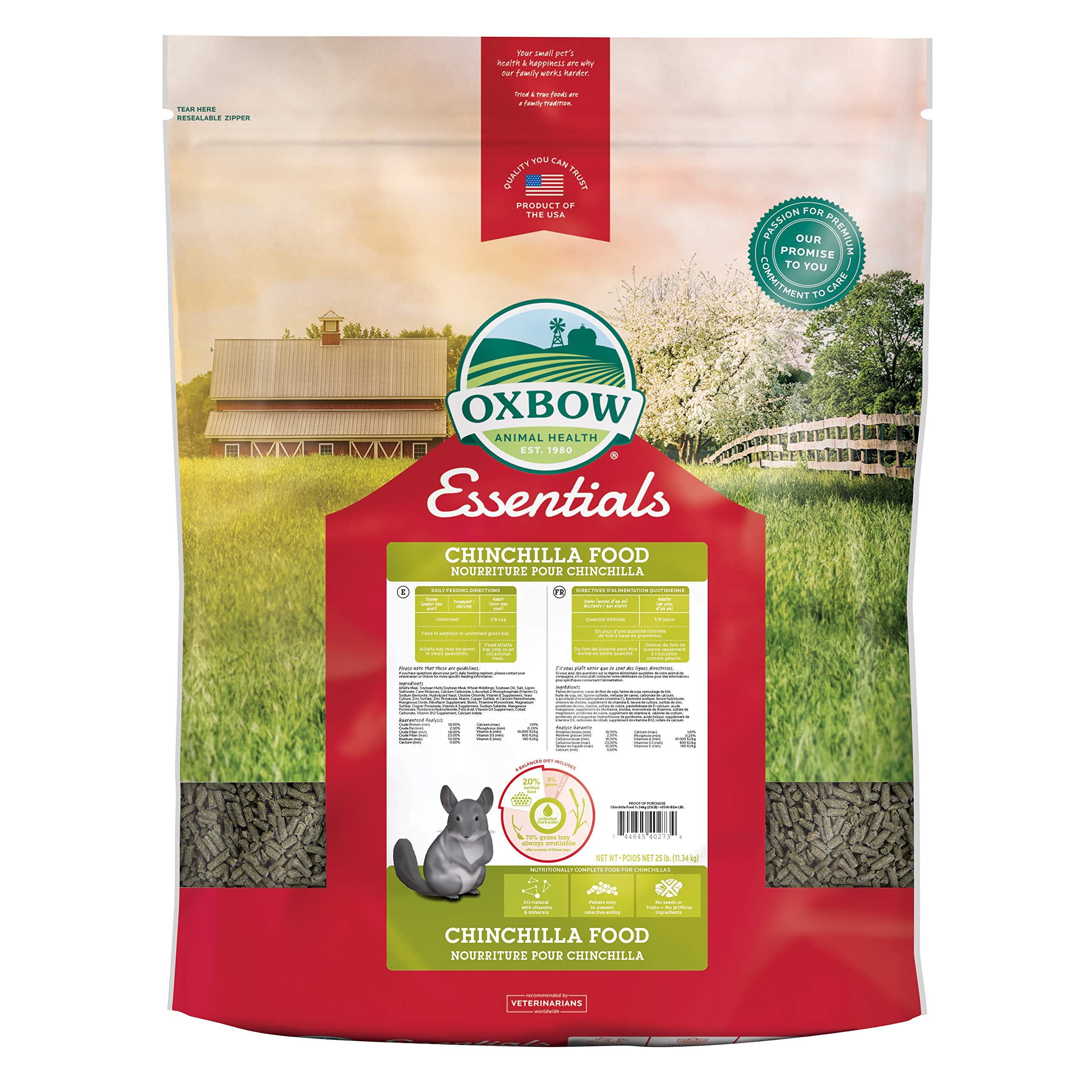Oxbow Animal Health Essentials Deluxe Chinchilla Food, 25-Pound by Oxbow Animal Health