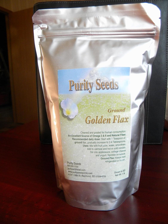 Pureza semillas 1.5 Lb molido lino Semillas de oro: Amazon ...
