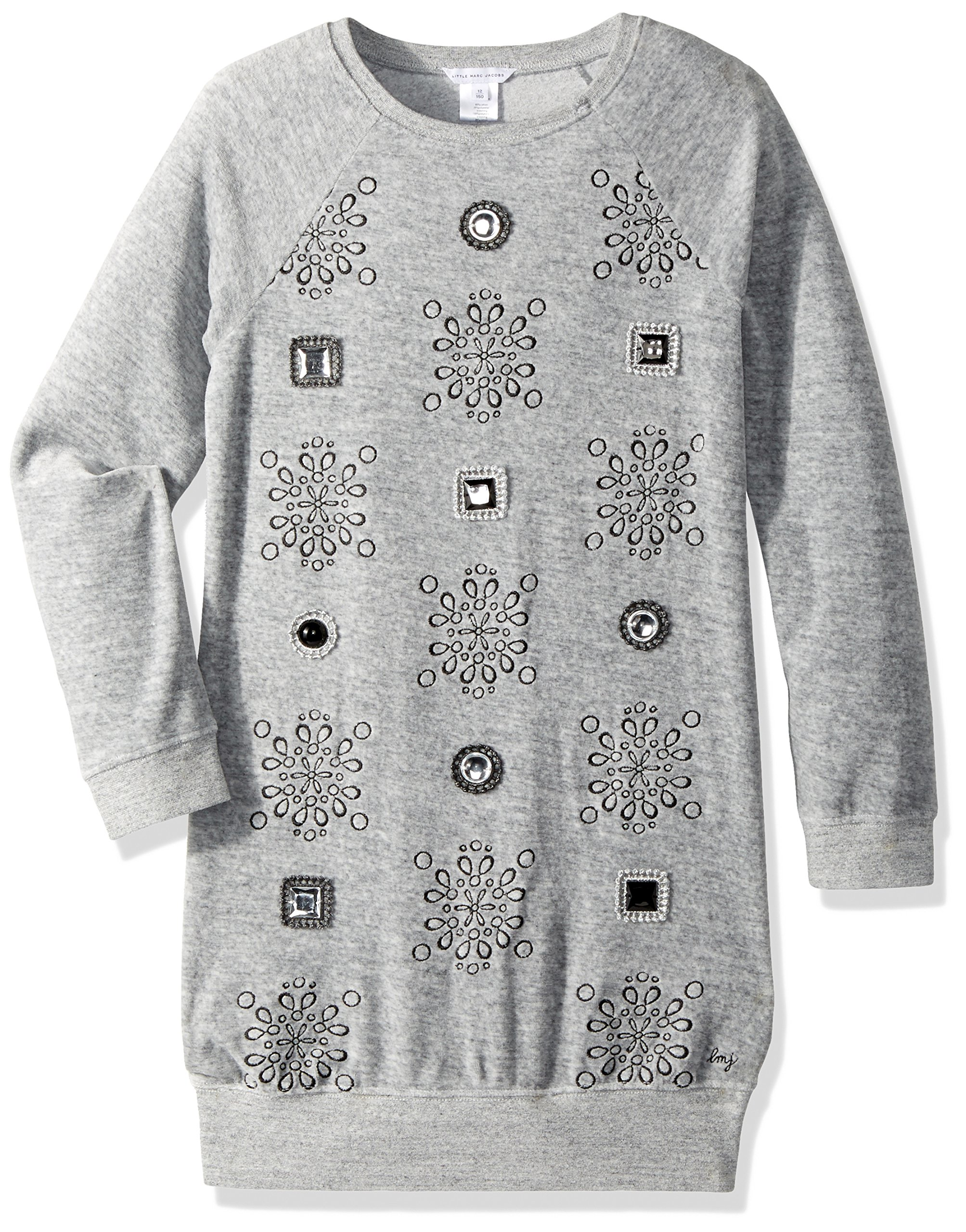 Little Marc Jacobs Girls' Velvet Dress with Cabochons and Embroidered Detail, Gris Chine, 4A