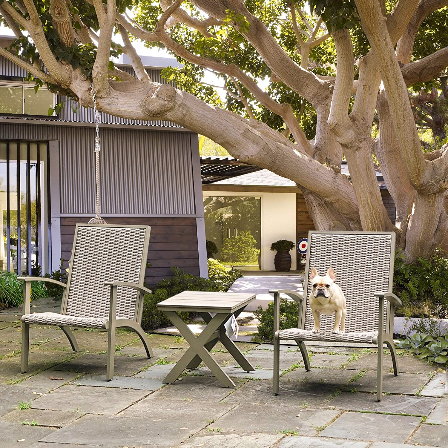 Grand Patio 3-Piece Wicker Conversation Set, Aluminium Outdoor Chat Set, Weather Resistant Patio Furniture Set, Grey