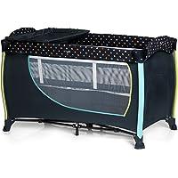 Hauck Sleep'n Play Center II – Lit de voyage pour bébé vec roulletes, 2 niveaux, matelas à langer, Toybag, Vibration, petits pois Bleu marine, 60x 120cm