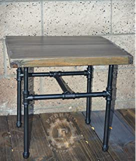 Steampunk Table Side Nightstand Small Industrial Pipes