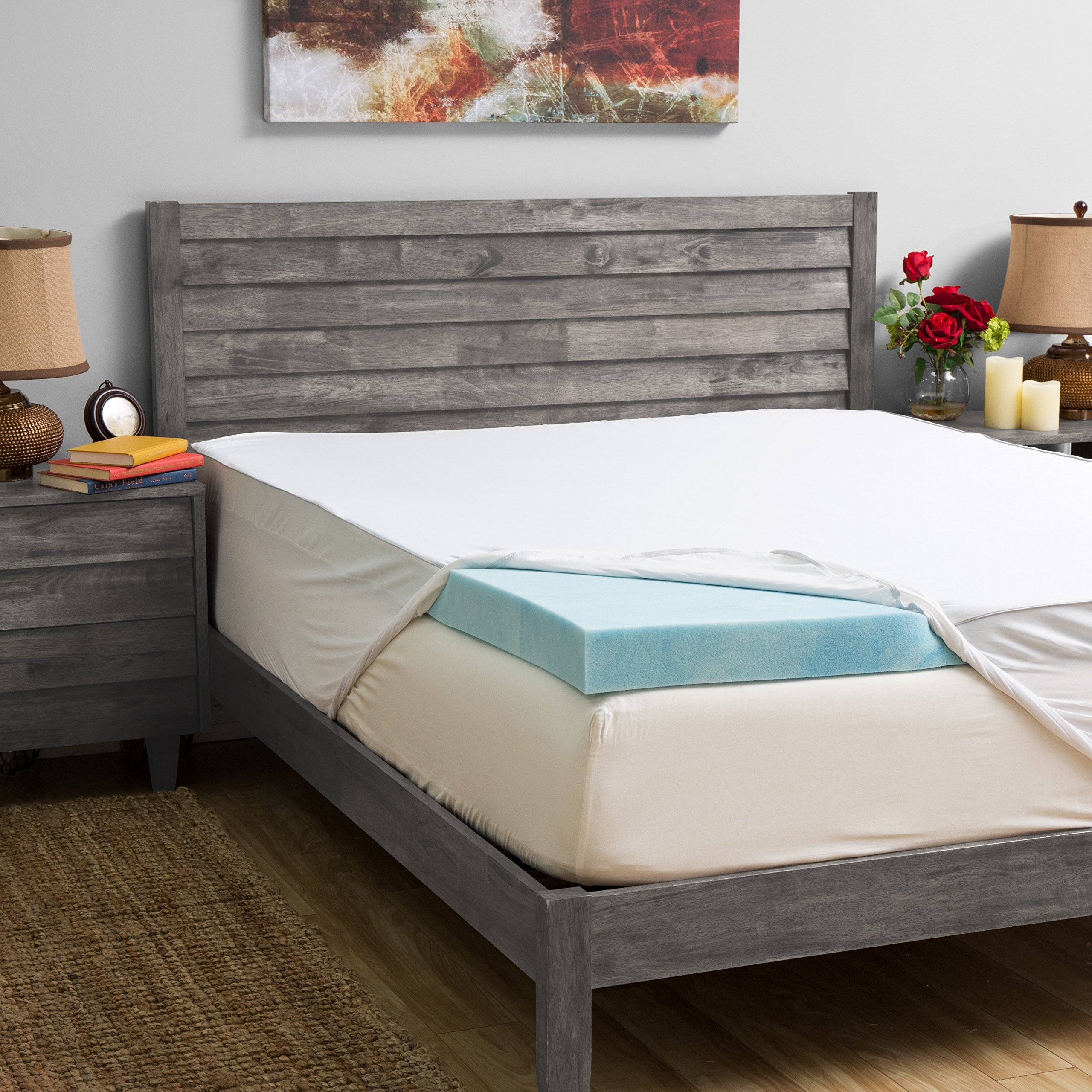 Grande Hotel Collection 3-inch Gel Memory Foam Mattress Topper with 300 Thread Count Egyptian Cotton Cover Queen