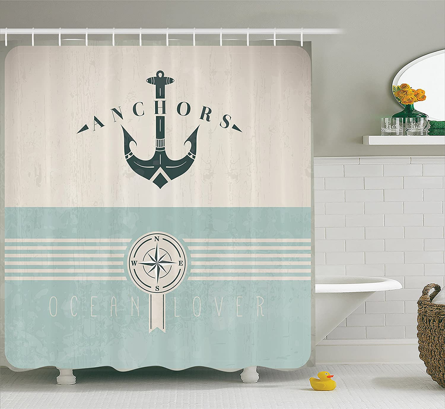 Ambesonne Ocean Decor Shower Curtain, Nautical Anchor Sailor Sea Directions Antiqued Theme, Polyester Fabric Bathroom Set with Hooks, 69 W X 70 L Inches, Beige Turquoise and Dark Green