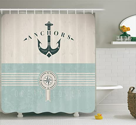 Nice Ocean Decor Shower Curtain By Ambesonne, Nautical Anchor Sailor Sea  Directions Antiqued Theme, Polyester