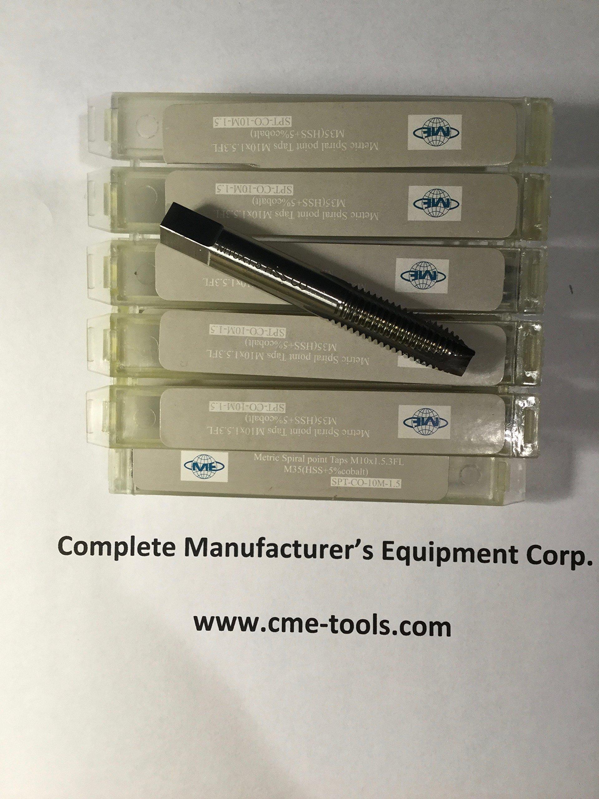 10 pcs Metric Spiral Point Taps M10x1.5 - 10mm x 1.5mm - M35 (HSS+5% cobalt) - 3 flute