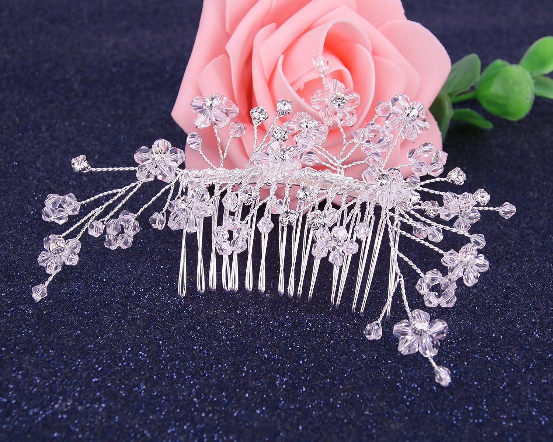 Inconnu BiBeary Femme /él/égant Mariage Cristal Perles simul/ées Fleur manual Fait main Peignes Bijoux de cheveux Ton argent