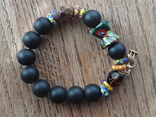 Amazon Com Trendy African Beaded Bracelet With Adinkra African Symbol Stretchy Men And Women Handmade