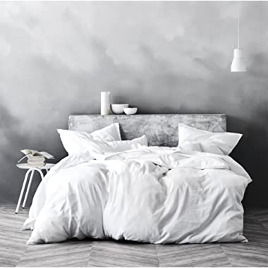 Eikei Washed Cotton Chambray Duvet Cover Solid Color Casual Modern Style Bedding Set Relaxed Soft Feel Natural Wrinkled Look (Queen, Winter White)