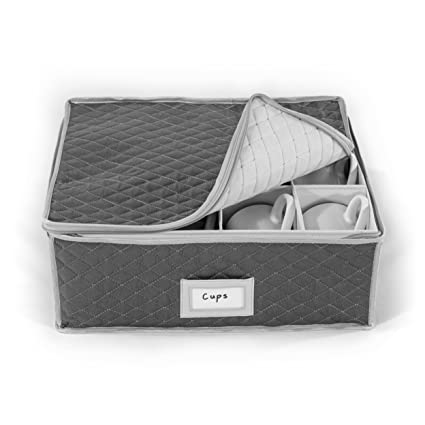 China Cup Storage Chest   Quilted Fabric Container In Gray Measuring  16u0026quot; X 13u0026quot;