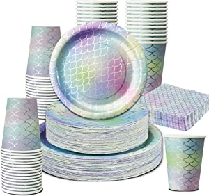 Mermaid Party Decorations-201PCS Party Supplies Plates Disposable Dinnerware Set-Sparkle Mermaid Birthday Banner, 50 Dinner Paper Plates Cup Napkin for Girl Mother's Day New Year Eve Easter Party