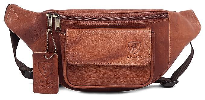 J. Wilson London Travel Bum Bag - Riñonera interior de piel Unisex adulto Marrón marrón