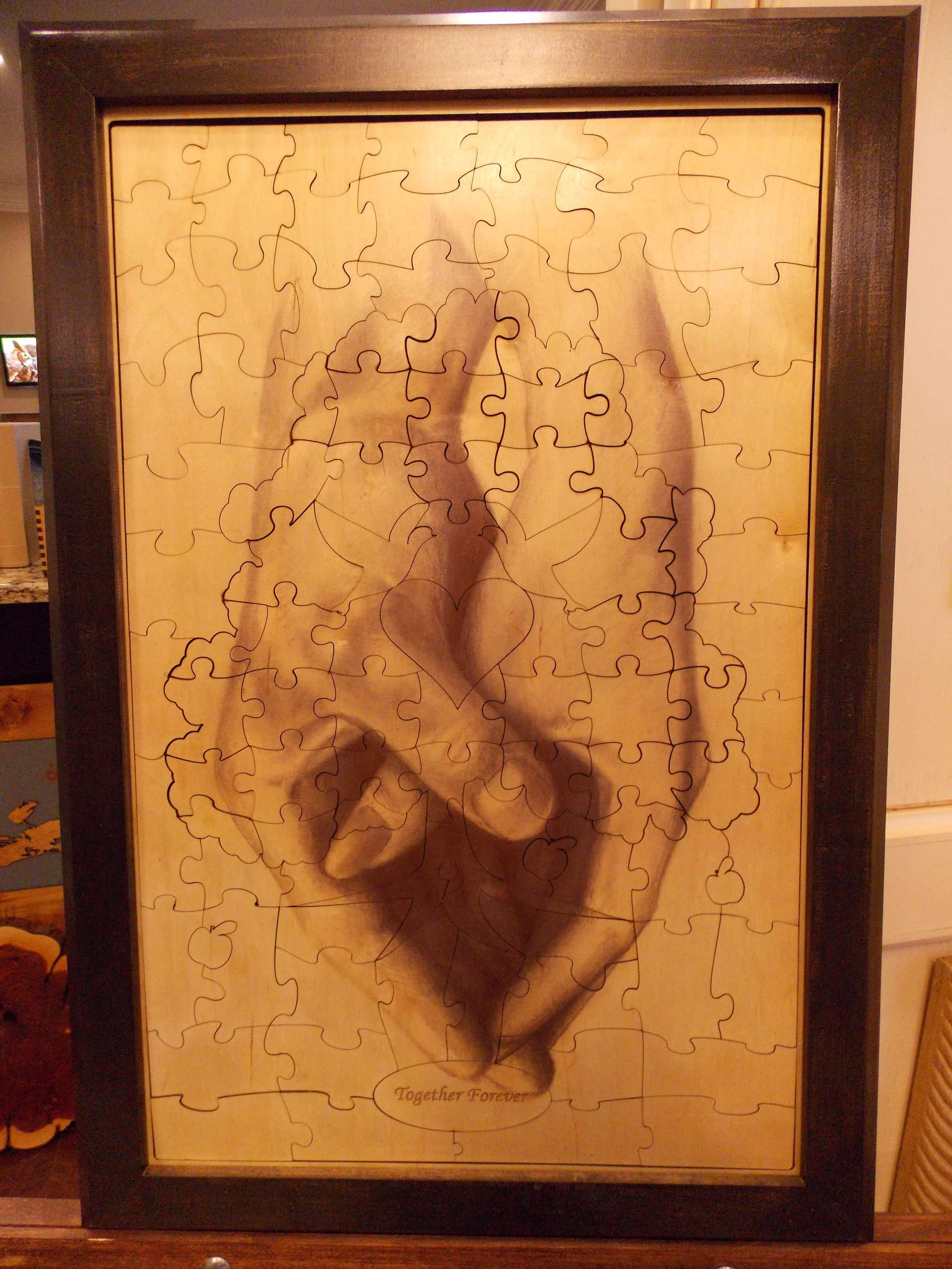 Wedding Guest Book Alternative Wood Puzzle ''Together Forever Tree Heart Hands'' 18x27 Medium 108 Piece