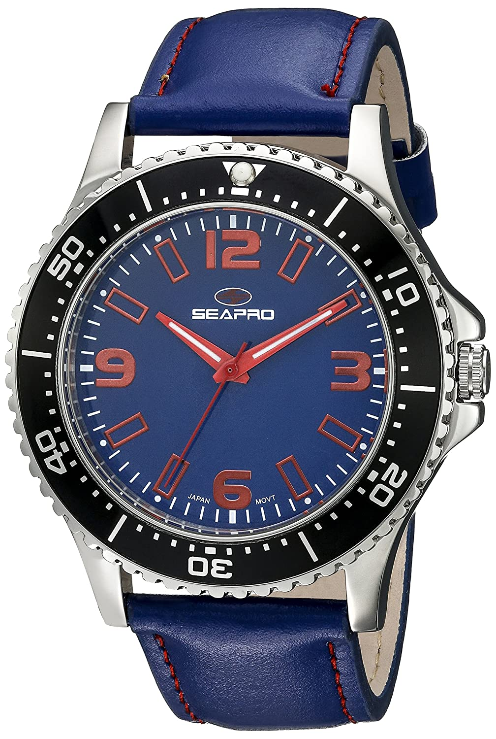SEAPRO HERREN-ARMBANDUHR 44MM ARMBAND SYNTHETIKLEDER BLAU QUARZ ANALOG SP5313