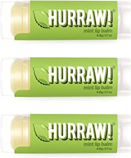 product image for Hurraw! Mint Lip Balm, 3 Pack: Organic, Certified Vegan, Cruelty and Gluten Free. Non-GMO, 100% Natural Ingredients. Bee, Shea, Soy and Palm Free. Made in USA