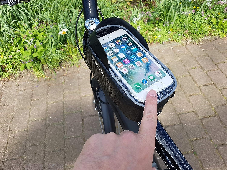 Orificio para Cable Pantalla de hasta 6.2 Impermeable Adecuado para iPhone Samsung Galaxy y Otros tsmartphones Soporte para tel/éfono WESTIC RT-19 Bolsa de Cuadro para Bicicleta