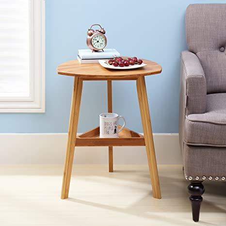 Finnhomy Bamboo Three Legged End Table, Elegant Round Coffee Table,  Eco Friendly Material