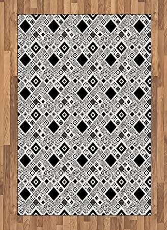 Amazon Com Ambesonne Black And White Area Rug Geometrical Diagonal