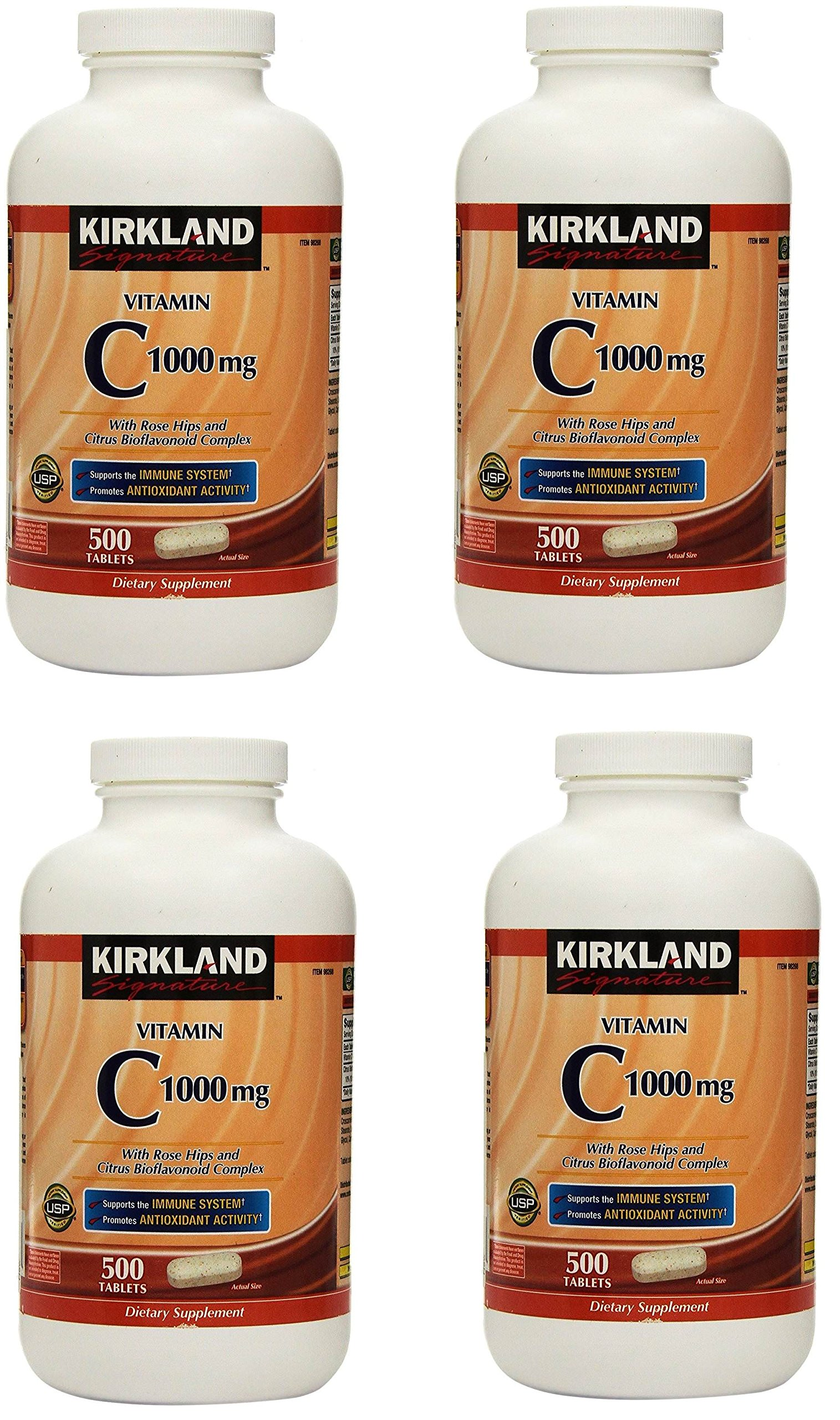 Kirkland Vitamin C with Rose Hips and Citrus Bioflavonoid Complex (1000 mg), 4 Bottles (500 Count Tablets)