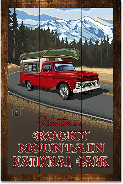 12 x 18 Lanquist Rocky Mountain National Park Pickup Road Trip Snow Travel Art Print Poster by Paul A