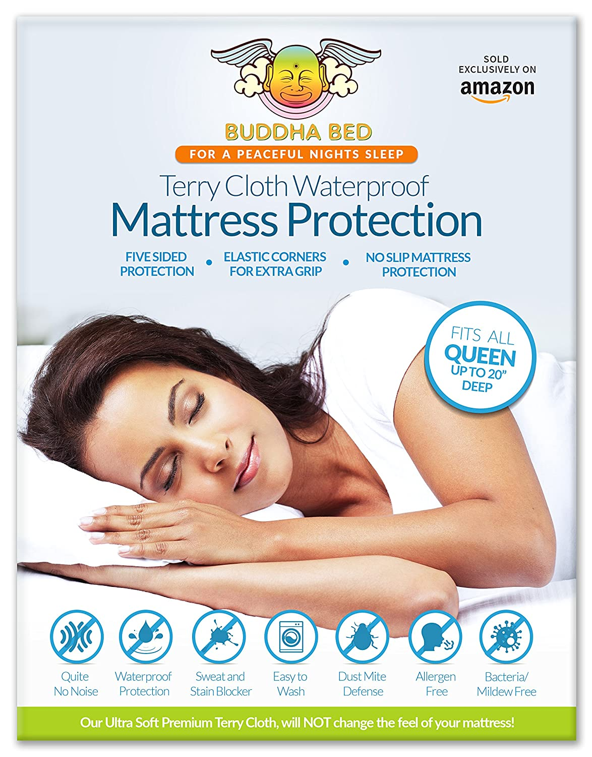 LionFinch Queen Mattress Encasement. 100% Waterpoof Designed to Block Sweat, Stains, Urine, and Accidents. Bleachable, Easy to Wash. Installs Like a Fitted Sheet and fits up to 20 Inches Deep.