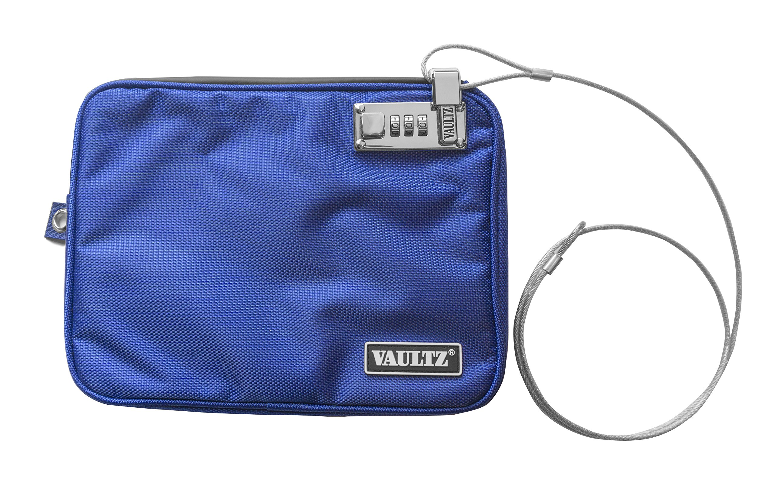 Vaultz Locking Pool Pouch with Tether, Medium, 7.5 x 9 Inches, Blue (VZ00724)