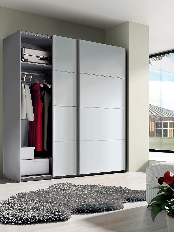 Armario ropero grande color blanco brillo de 2 puertas correderas, tiradores aluminio, altillo y barras incluidas para dormitorio.