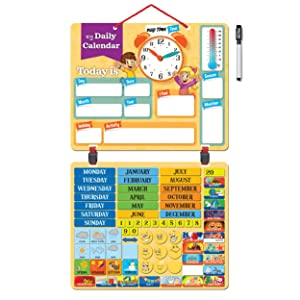 """Kids Daily Calendar with""""79 Learning Magnets"""" Hang on Wall or Fridge. Fun Educational Activity for Home or School. Weather, Time, Season, Activities, Emotions"""