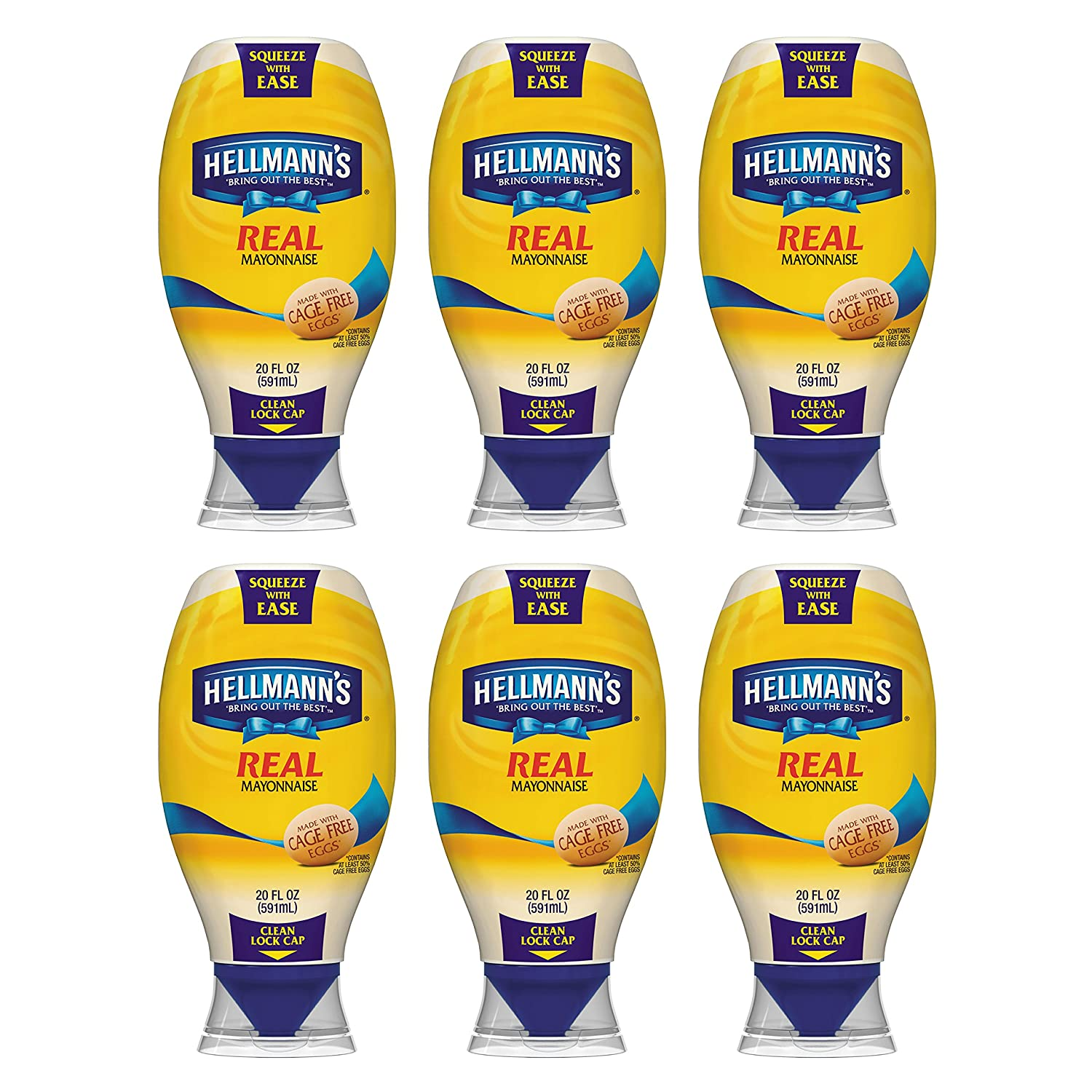 Hellmann's Squeeze Real Mayonnaise 20 oz, Pack of 6