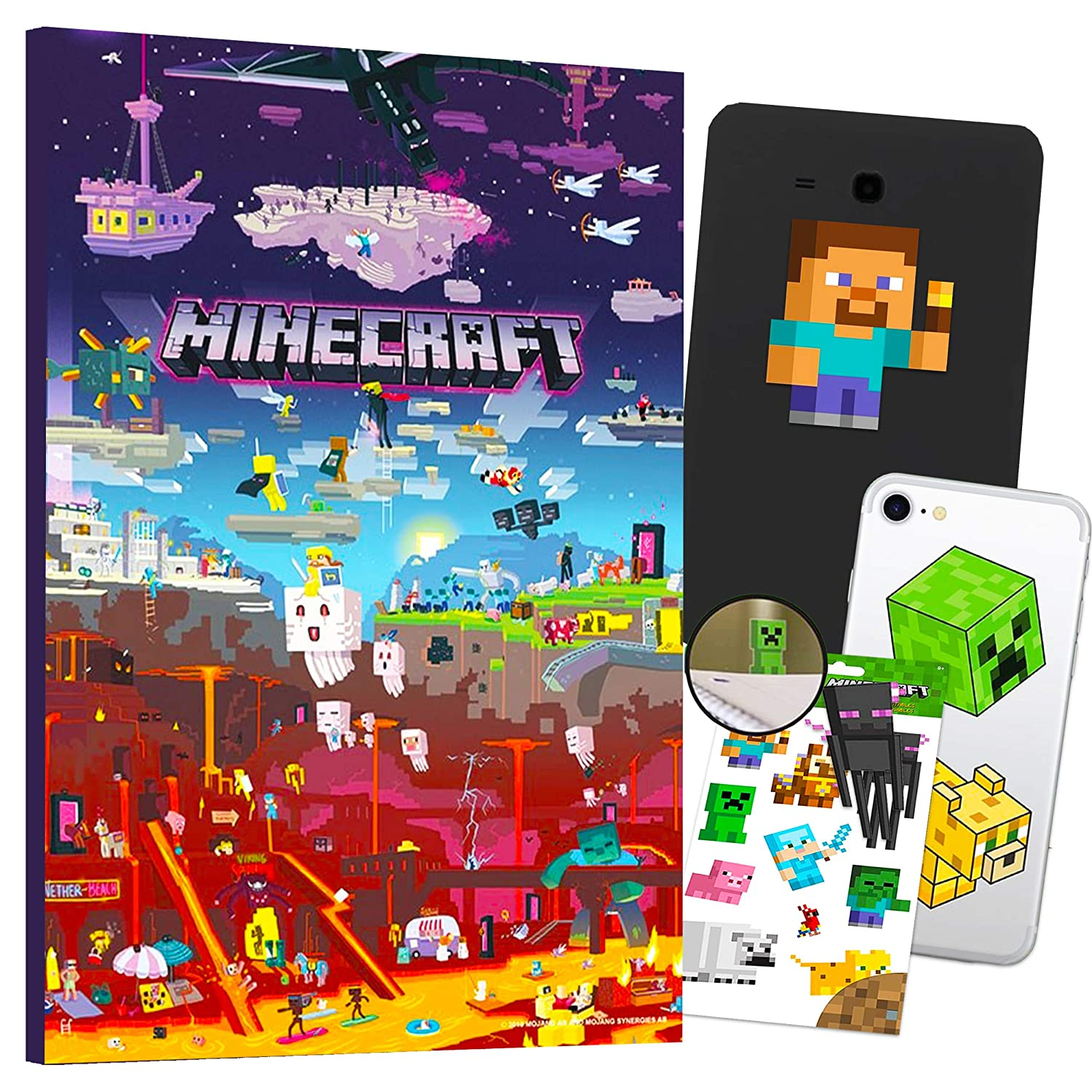 Minecraft Decorations Artwork Wall Art Ultimate Bundle ~ 24 Pcs Minecraft Poster, Stickers, Decals for Walls Laptop Car (Minecraft Room Decor for Boys Girls Kids)