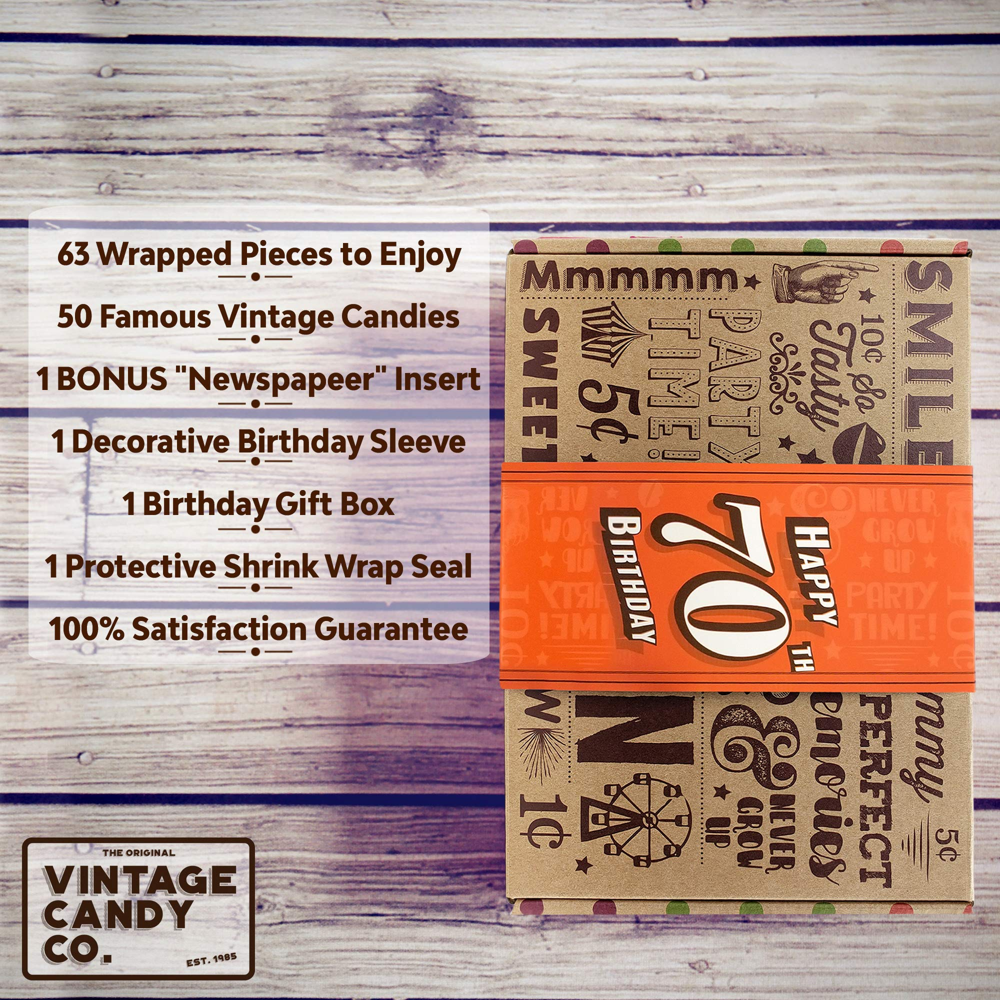 VINTAGE CANDY CO. 70TH BIRTHDAY RETRO CANDY GIFT BOX - 1949 Decade Nostalgic Childhood Candies - Fun Gag Gift Basket for Milestone SEVENTIETH Birthday - PERFECT For Man Or Woman Turning 70 Years Old by Vintage Candy Co. (Image #3)