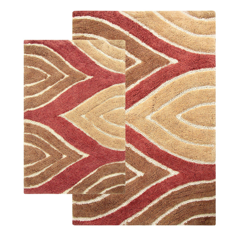 amazoncom chesapeake davenport 2piece bath rug set 21 by 34inch24 by 40inch adobe home u0026 kitchen
