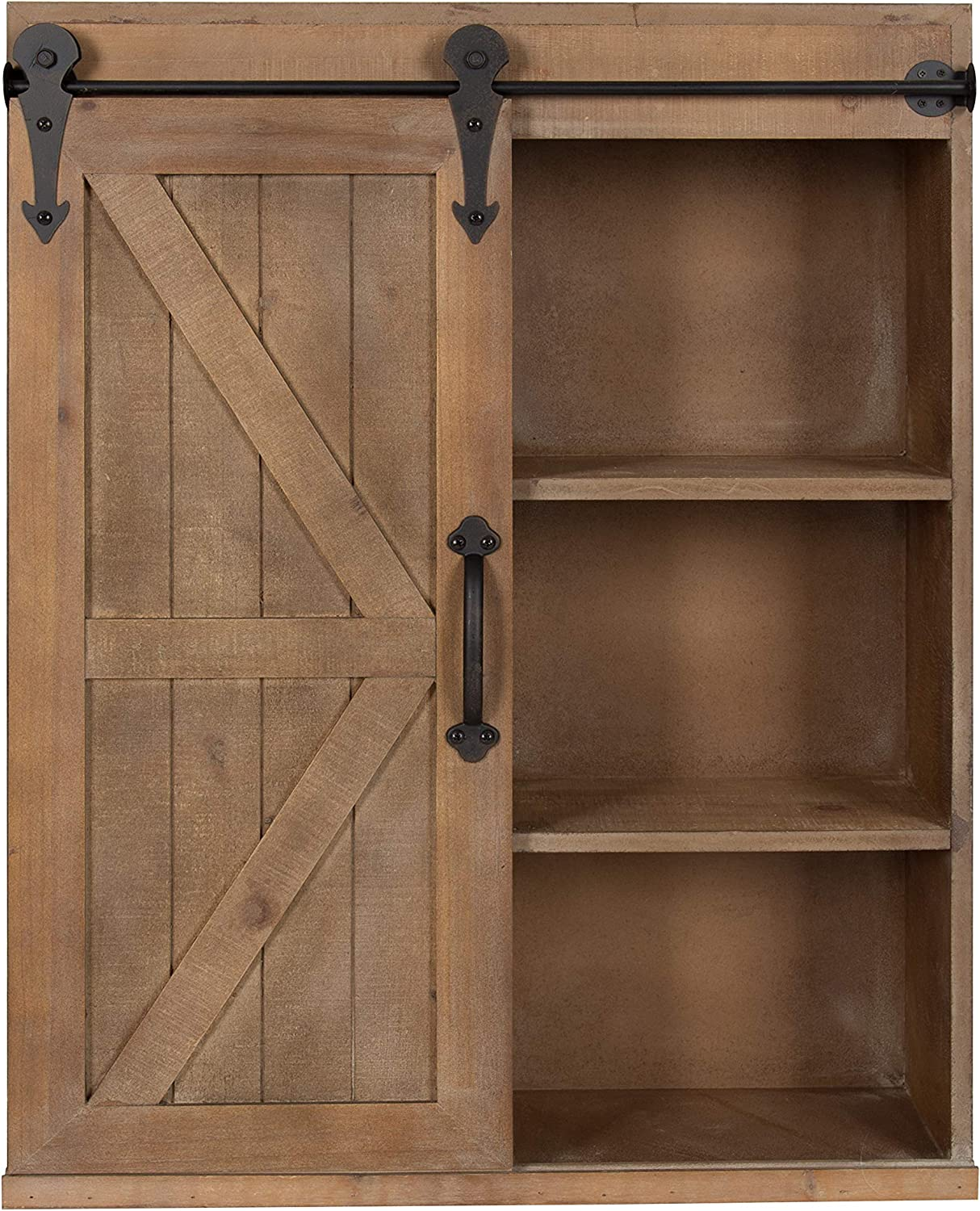 Amazon Com Kate And Laurel Cates Wood Wall Storage Cabinet With Sliding Barn Door Rustic Brown Home Kitchen