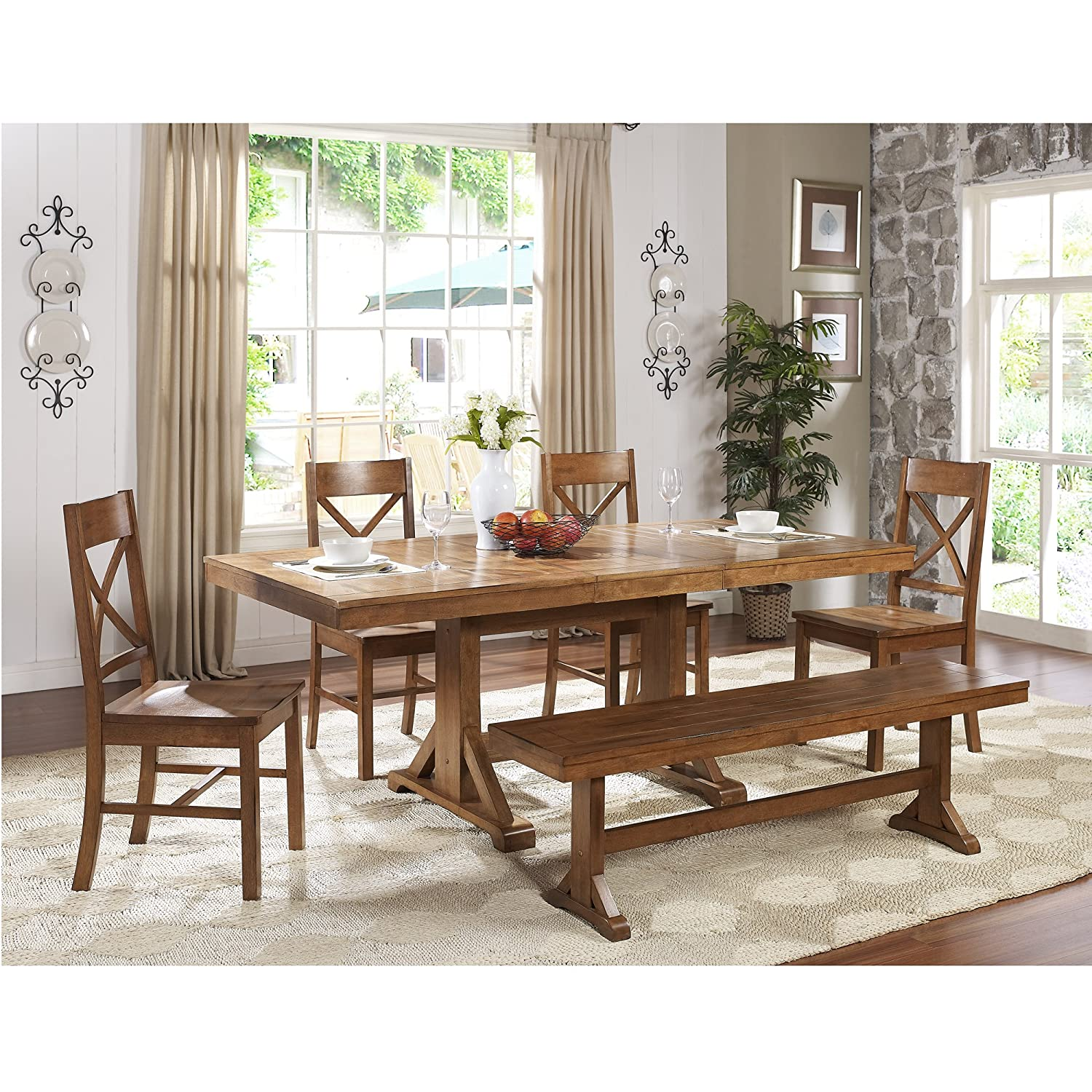 Amazon WE Furniture Solid Wood Brown Dining Bench Kitchen