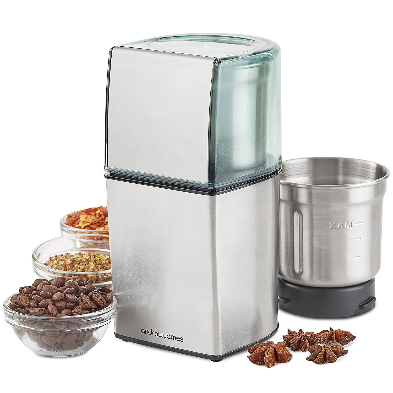Andrew James Electric Coffee Grinder Also For Nut and Spice Grinding - Wet and Dry Ingredients - 200W
