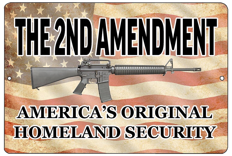 Rogue River Tactical Funny Pro 2nd Amendment Metal Tin Sign Wall Decor Man Cave Bar Americas Original Homeland Security