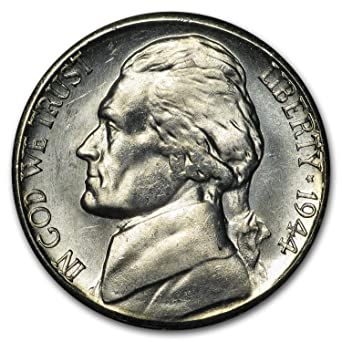 1944 S Silver Jefferson Nickel BU Brilliant Uncirculated At Amazons Collectible Coins Store