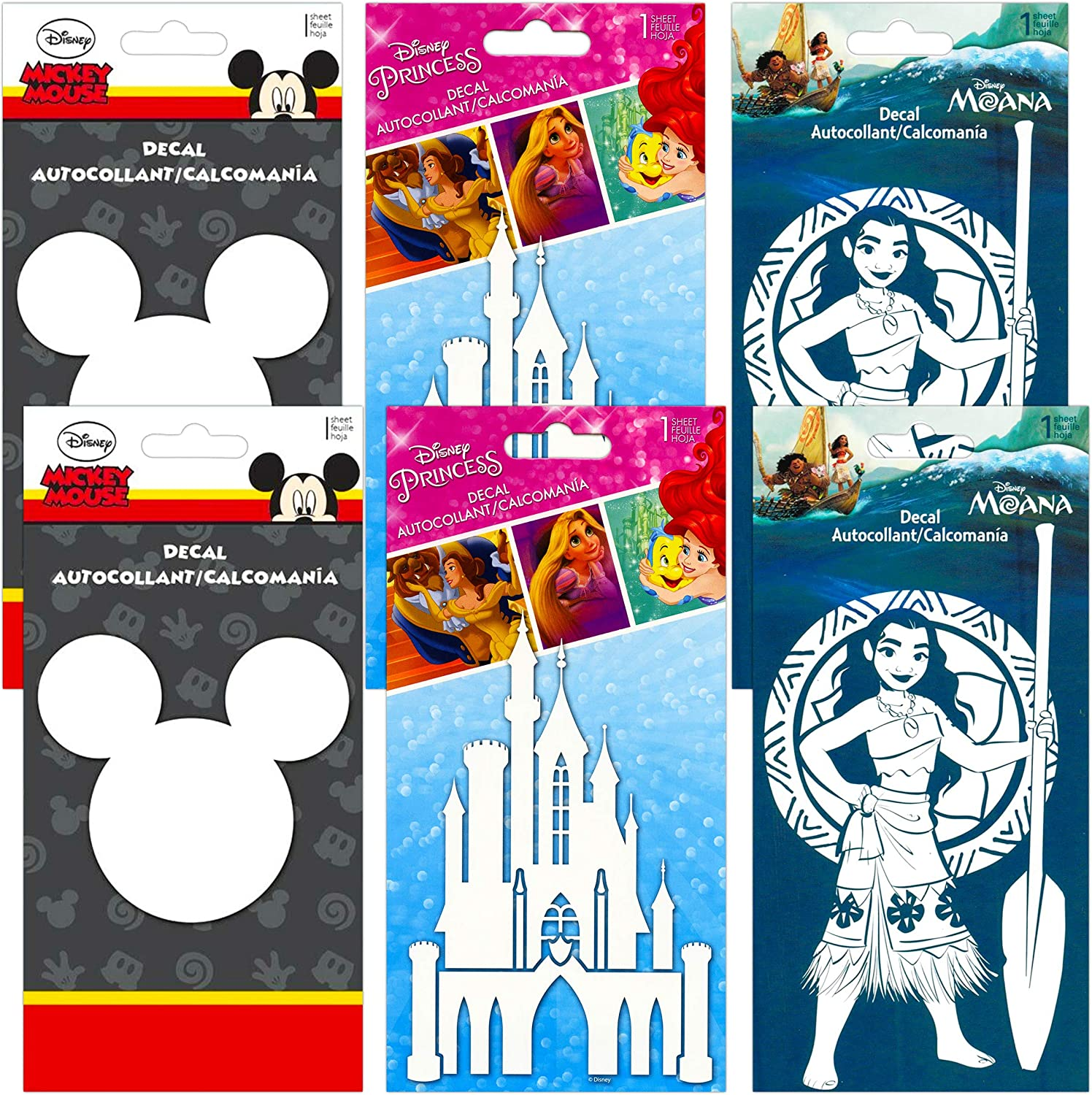 Disney Sticker Decal Bundle Disney Party Decoration Set - 6 Pack Disney Room Decor for Adults Kids Decals Featuring Cinderella, Mickey Mouse, and Moana Disney Wall Art (Disney Party Favors)
