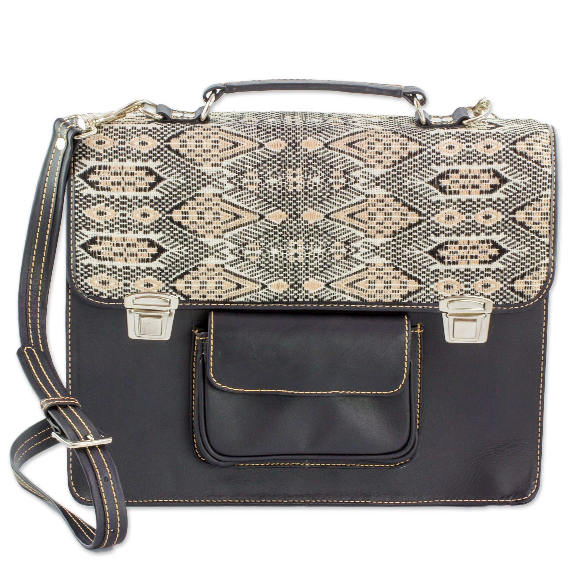 NOVICA Beige Leather and 100% Cotton Laptop Bag, 'Tricolor Kaleidoscope'