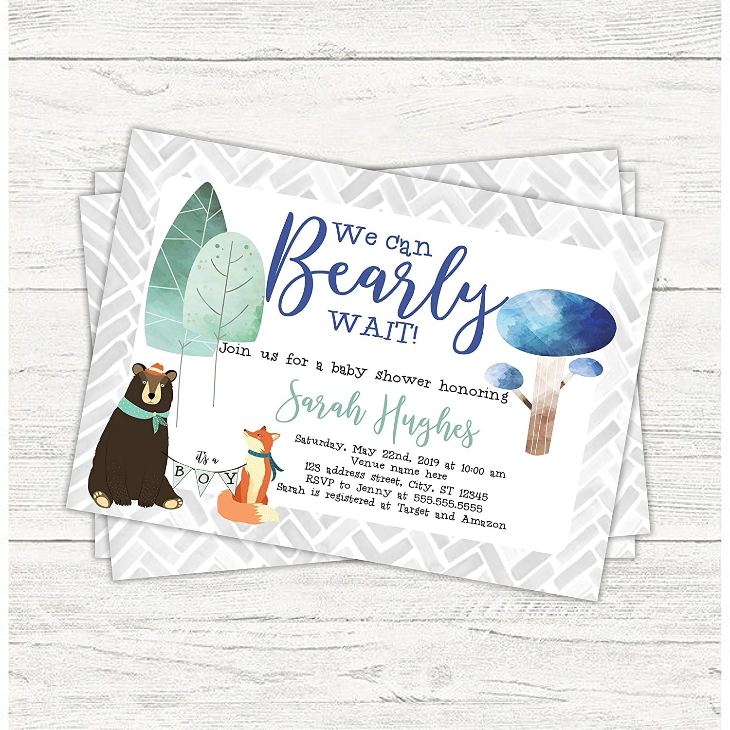Amazon.com: We can bearly wait invitations/bearly wait/bear baby shower/boy baby  shower/baby cub shower/baby boy invitation/bear shower/baby shower: ...